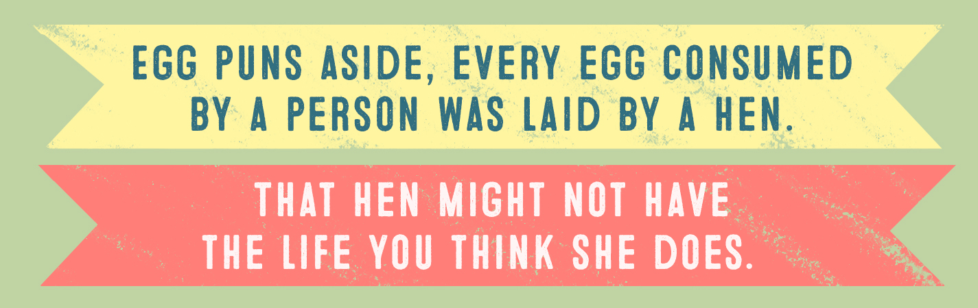 EGG PUNS ASIDE, EVERY EGG CONSUMED BY A PERSON WAS LAID BY A HEN. THAT HEN MIGHT NOT HAVE THE LIFE YOU THINK SHE DOES.
